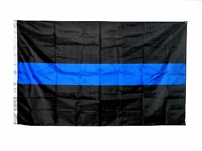 Flagge thin blue line ca. 150 x 90 cm aus Polyester Digitaldruck support Polizei