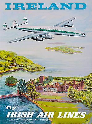 Ireland Fly Irish Airlines Vintage Travel Advertisement Art Poster Print