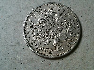 Great Britain Sixpence 6 pence 1962 Wedding coin Young Queen