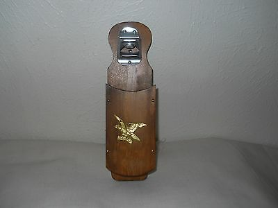 Vintage Wooden Hanging Bottle Opener With Eagle Decoration