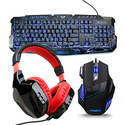 M200 3 Colors Gaming Keyboard and 3200 DPI Mouse+ Headphones w/Mic Bundles Combo