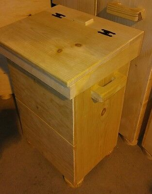 wooden kitchen trash bin unfinished pine wood use 19/24 gal gal. bag