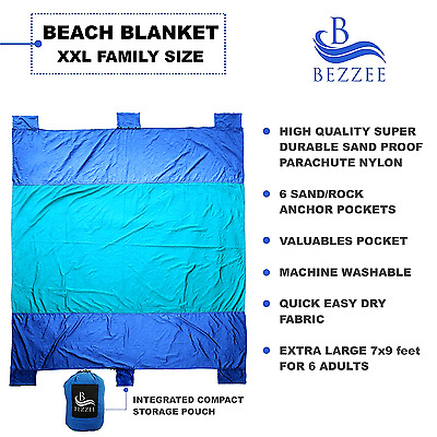 XL Beach Blanket Ripstop Sand Proof Picnic Camping Mat Lightweight 7'x 9'