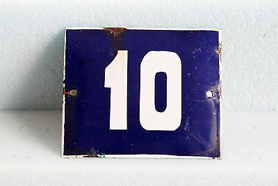 Antique French BLUE ENAMEL PORCELAIN SIGN PLATE HOUSE STREET DOOR NUMBER 10