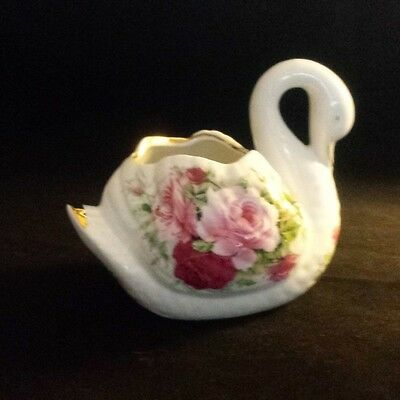 Pink Shabby Chic Roses PORCELAIN SWAN FIGURE Planter Vase CANDY DISH Open Top