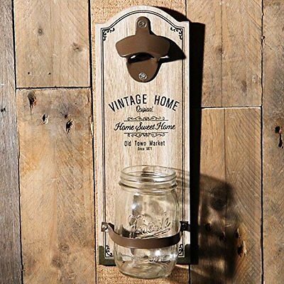 Vintage Home Wooden Wall Mounted Bottle Opener with Cap Catcher Jar