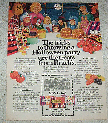 1984 ad page - Brach's HALLOWEEN candy CUTE kids art vintage Advertising Advert