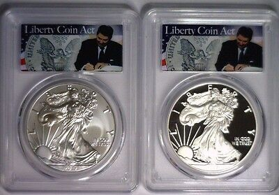 2017 PCGS PR70 & MS70 FIRST STRIKE Silver Eagle LIBERTY COIN ACT REAGAN LABEL