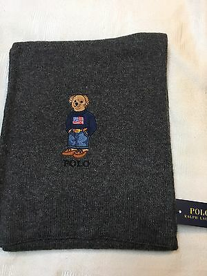 NEW WITH TAGS!! Ralph Lauren Polo Bear Scarf Gray Wool Cotton