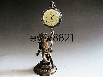 Collectible Decorated Old Handwork Copper Carved Boy Hold Mechanical Table Clock