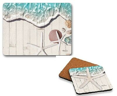 Set of 6 Star Fish  - Placemats and Coasters Cork Back