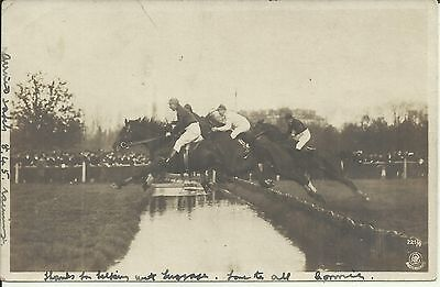 STEEPLE CHASE HORSE RACE OVER WATER JUMP  POSTCARD QV 1890's NSW STAMP