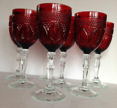 """7  France Cristal D""""Arques RUBY RED Crystal on Clear Stem Goblets STAR OF DAVID"""