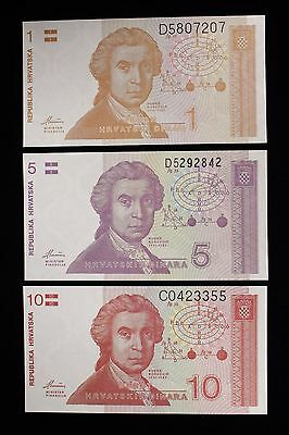 Lot of 3 Croatia Banknotes 1991 - 1 5 10 Dinara