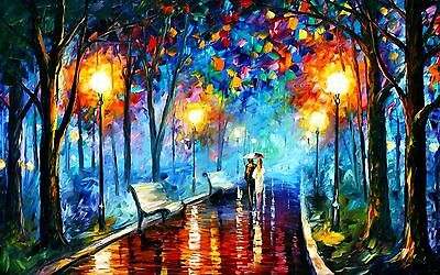 Lovers Walk Rain  Framed Poster Canvas Street Art Painting Paper