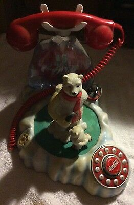 Coca Cola Lighted Musical Animated Polar Bear Telephone