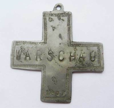 Original German WW2 Iron Cross w. inscription Warschau, 1939 Occupied Territory