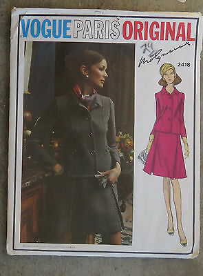 Vintage 1970s Vogue Paris Original Dress Suit Pattern Molyneux Uncut FF 34 Label
