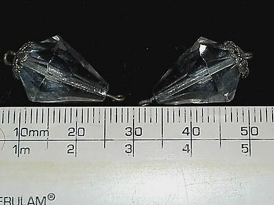 Victorian, antique, loose, clear, faceted, cut glass, tear drop beads (Ref 408)