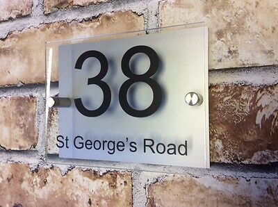 Modern House Sign Plaque Door Number House Name Glass And Aluminum Effect