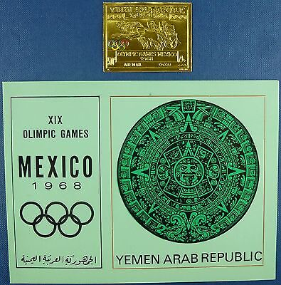 7/Jemen Yemen North 1968 Olympiade Olympics Gold 791 B Imperf + Folder ** MNH