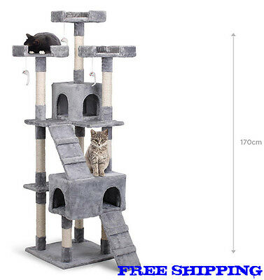 New Pawever Pets Cat Scratching Post Tree (Large) 1m70 GREY - Free SHIIPING
