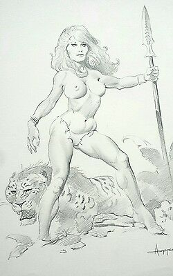 Mike Hoffman original pencil sketch Warrior Woman and Big Cat signed 03