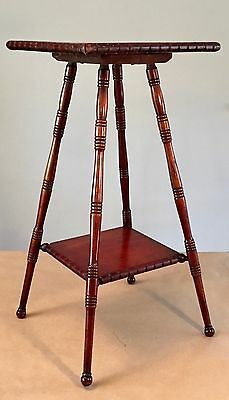 "Antique Victorian Eastlake Wood Mahogany Plant Stand Vintage 29"" Carved Turned"