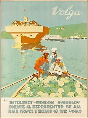 Volga River Russia Vintage Russian Travel Advertisement Art Poster Print