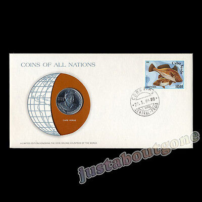 Cape Verde 10 Escudos 1982 Fdc ─ Coins Of All Nations Uncirculated Stamp Cover