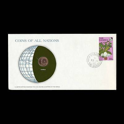 Gambia 1 Butut 1974 Fdc Unc ─ Coins Of All Nations Uncirculated Stamp Cover