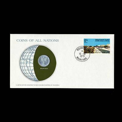 Mauritania 1973 1/5 Ouguiya Fdc ─ Coins Of All Nations Uncirculated Stamp Cover