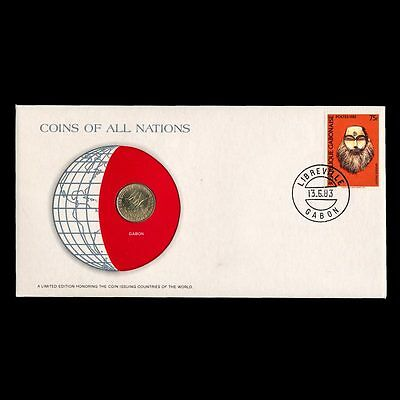 Gabon 5 Francs 1977 Fdc ─ Coins Of All Nations Uncirculated Stamp Cover