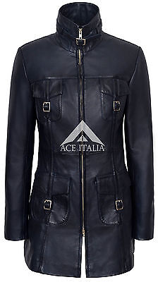 Ladies Leather Jacket Navy Gothic Style Fitted 100% REAL LAMBSKIN COAT 1310