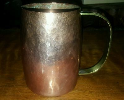 Vintage Copper Tankard / Mug Hammered Finish Brass Handle  Hand Made Polished