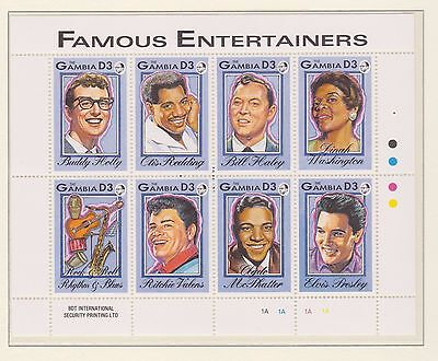The Gambia Stamp Sheet 1993 Mnh Famous Entertainers Buddy Holly Elvis Presley
