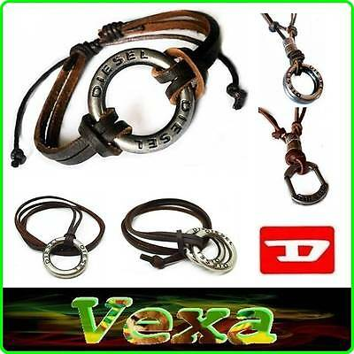 DIESEL Leather Bracelet Necklace Thong with rings Bangle Mens Surfer chain UK