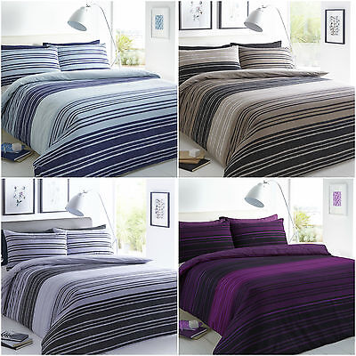 New Texture Stripe Printed Poly Cotton Duvet Quilt Cover Bedding Set All Sizes
