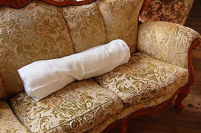 "BOLSTER Sham Cover PURE Linen Floppy Vintage FRENCH White Draw String 31"" Long"
