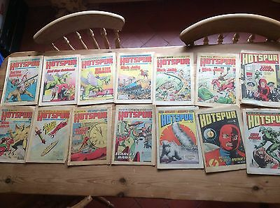 THE HOTSPUR Comic - 12 Issues Dated 1975 - 1976 - UK Paper Comic + 2 Tatty Issue