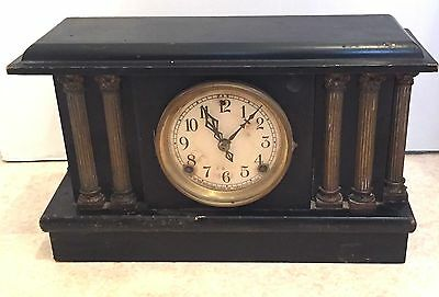 "American Carved Ebonised Case Striking Mantle Clock c1900 GWO 10H 15.5""W 5""D"