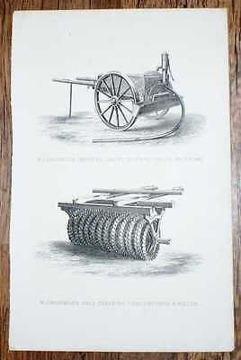"""Engraved Plate from C19 Agricultural Book showing """"W. Crosskill's Improved Liqui"""