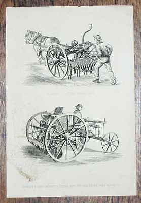 Engraved Plate from C19 Agricultural Book: Garrett's Patent Horse Hoe etc.