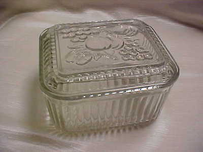 Vintage 1930's Refrigerator Dish Clear with Ribbed Sides and Fruit Motif Lid/Top