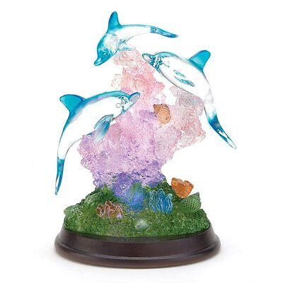 New Gifts Decor Light Up Dolphin Sculpture Figurine Desk Table Figure Home gift