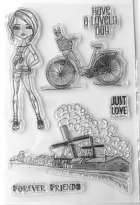 Clear stamps Silicone 1 Sheet DIY Girl Bicycle Windmill Transparent