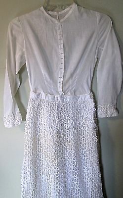 unusual Edwardian era dress w white rickrack lace skirt, batiste bodice, sm size