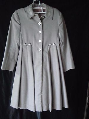 Vintage....Girls......Gray Colored......Pleated.....Wool Lined Coat
