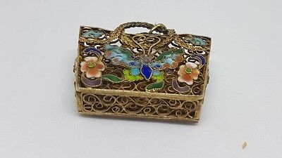 Antique Chinese Silver Export Filigree Cloisonne Enamel Butterfly Pendent