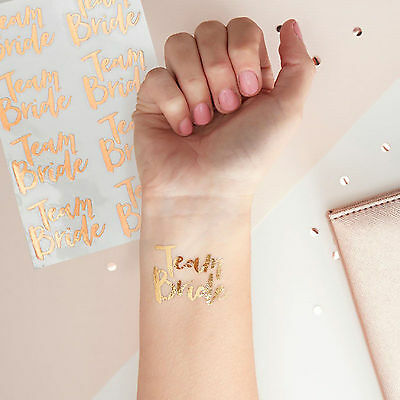 HEN PARTY Rose Gold TEMPORARY TATTOOS Fun Quirky Bride to Be Team Bride 16 Pack